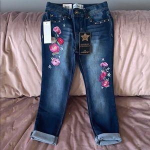 Girls embroidered dark jeans